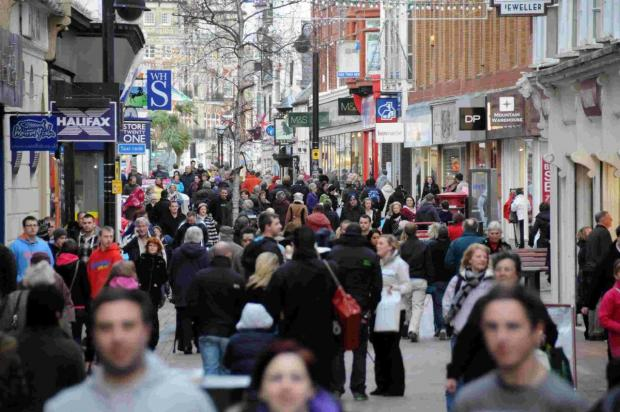 FOOTFALL: Shoppers in St Mary Street, Weymouth