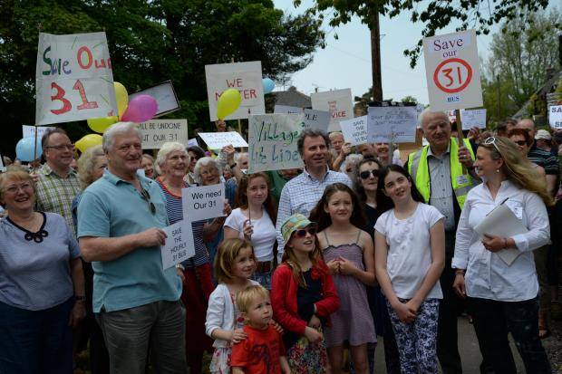 Protest at proposed bus service changes in Martinstown
