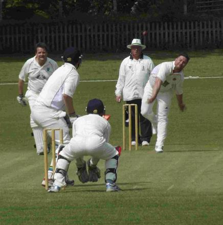 CHARGING IN: Pete Moxom during the middle overs