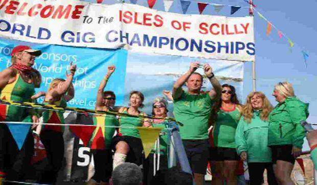 GROUP GLORY: Weymouth Ladies B finished as winners of group F at the World Championships on the Isles of Scilly