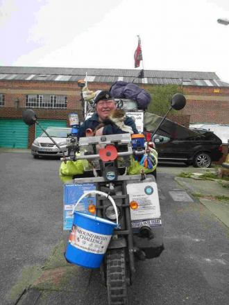 INTREPID: Fundraiser Mark Newton is travelling around the coast, including Dorset, on a mobility scooter to raise money for military charities and the RNLI