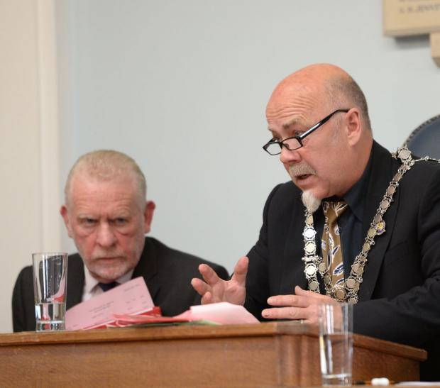 ALL CHANGE: New mayor Rob Hughes, right, with Tim Munro at the meeting. Picture: JOHN GURD