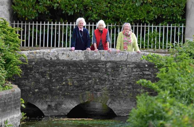 Dorset Echo: HOPES: Eliza Oxley, Aileen Rayment and Gwen Yarker on the bridge