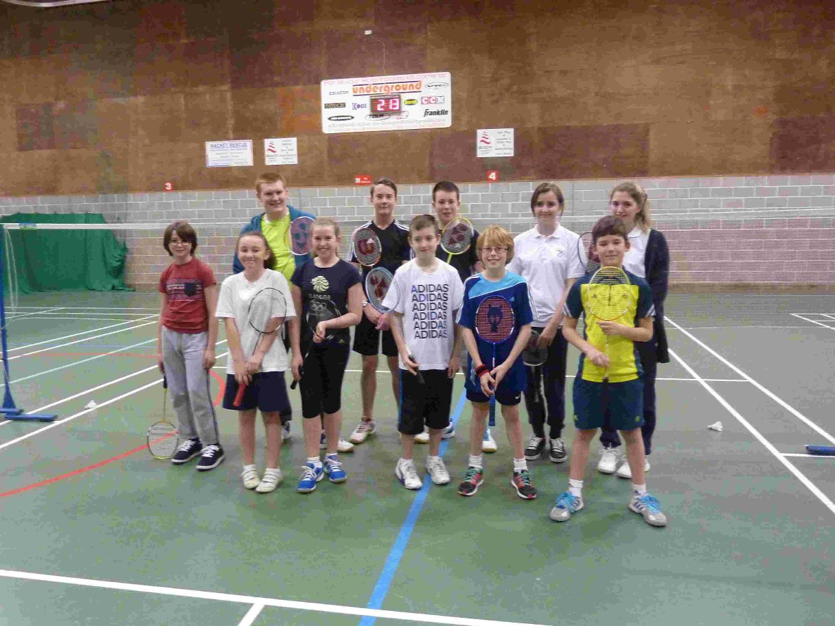 ON COURT: Shuttlebusters, back row, left to right: Charlie Squibb, Sam Chaloner, David Mitchell, Louise Davie, Emma Osborne. Front: Joshua Ingleheart-Green, Georgina Kelly, Erin Gowers, James Mathie, Jamie Bellingham and Eddie Knell