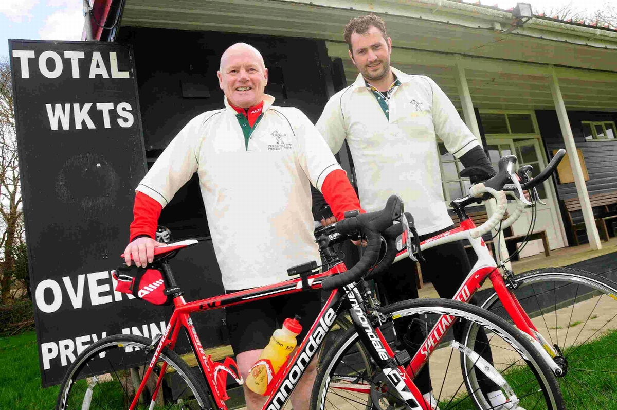 PEDAL POWER: Charity cyclists Tom Blundell and Mark Whitmarsh