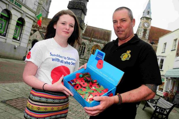 Dorset Echo: Jazz Wallace and RBL community fundraiser Ian Jarvis in South Street, Dorchester