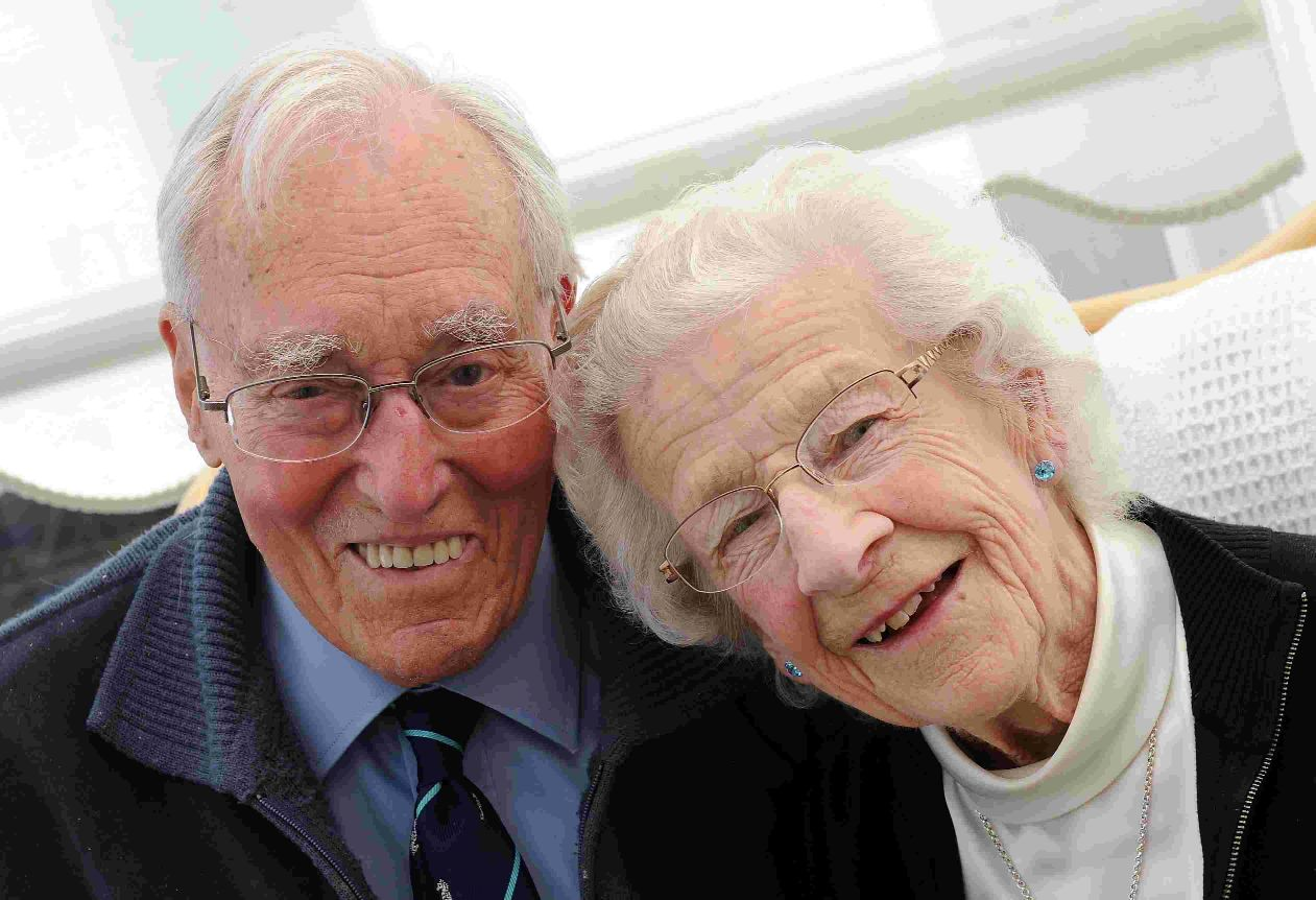 BOND: Les and Jean Ames have been married for 70 years. Below, on their wedding day