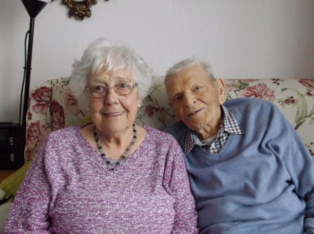 Dorset Echo: Roy Hunt, 94, and Mary Hunt, 92. Inset, on their wedding day