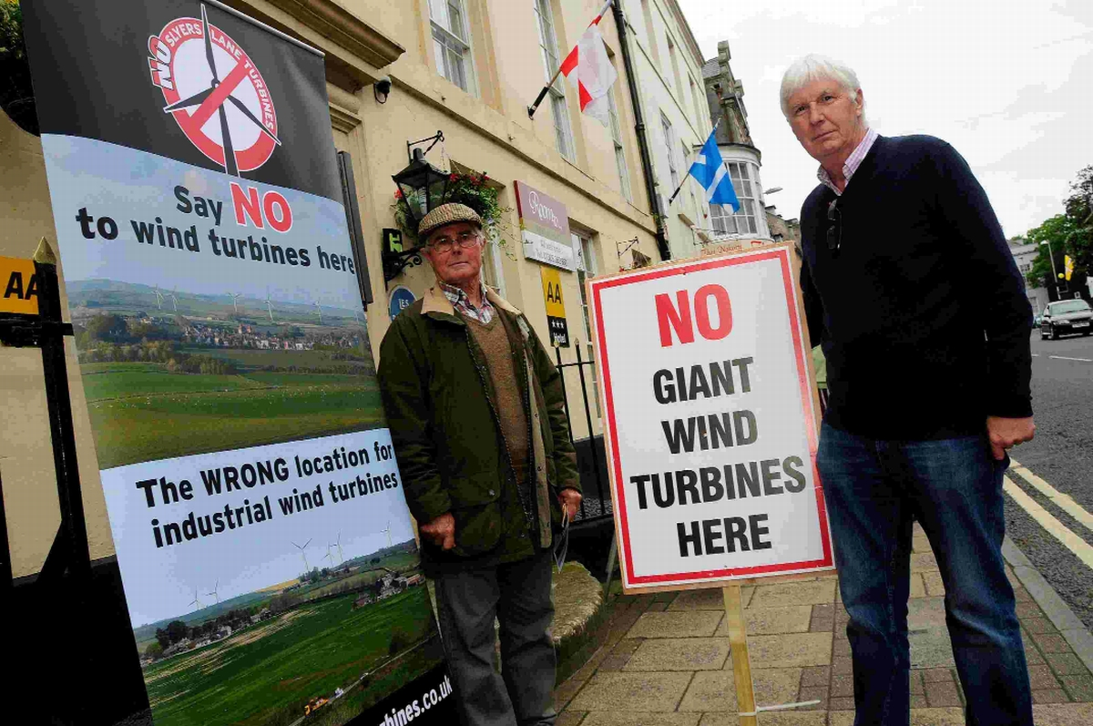 Richard East and Tim Yarker protesting against the proposed wind farm