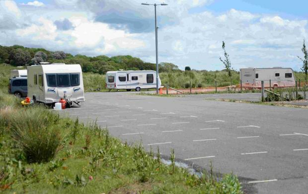 Dorset Echo: CAMP: Travellers at the park and ride site