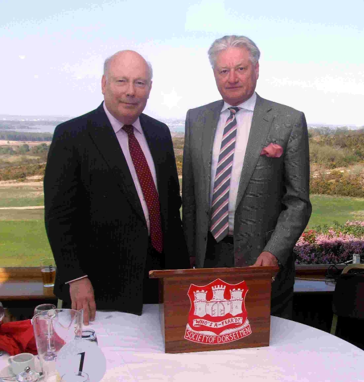 Julian Fellowes, left, and Stuart Adam, the president and chairman of The Society of Dorset Men