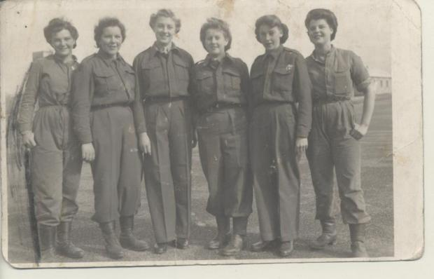 Sylvia Baker, third from right, was in the army as a telephonist on Portland on D-Day