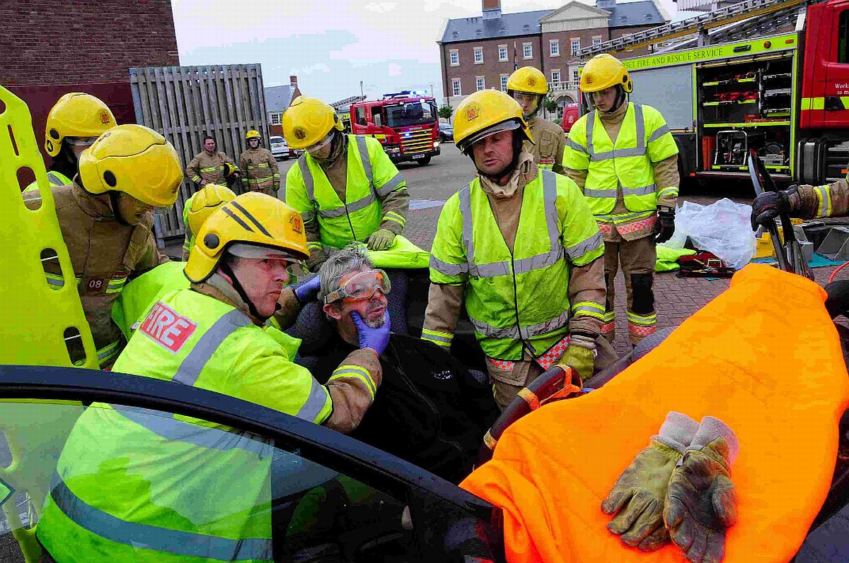 SAVING LIVES: Dorset Fire and Rescue traffic collision  re-enactment at Dorchester Fire Station
