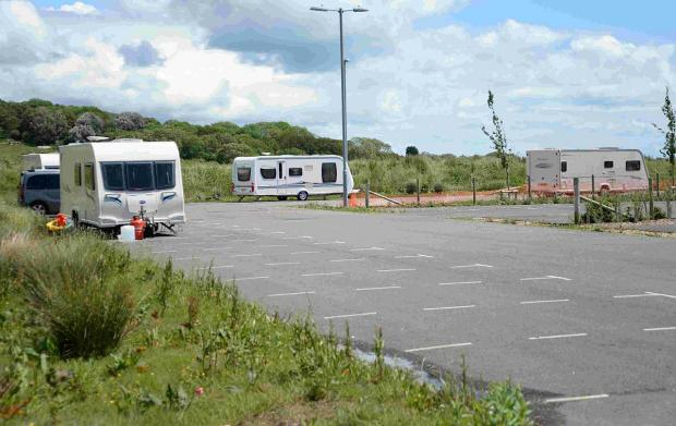 ILLEGAL: Caravans at the park and ride site in Weymouth