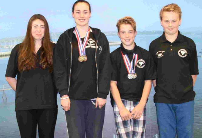 TOP QUARTET: Rebecca Beal, Jenny Scott, Josh Frampton and Josh Rowe who competed in the combined City of Bristol and Exeter open meet