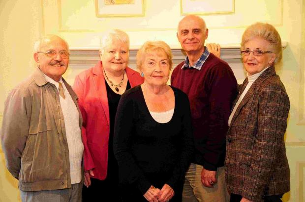 GETTING TOGETHER: Carers David Matthews, Pat Vinycomb, Ann Wilson, Roger Taply and Enid Evans