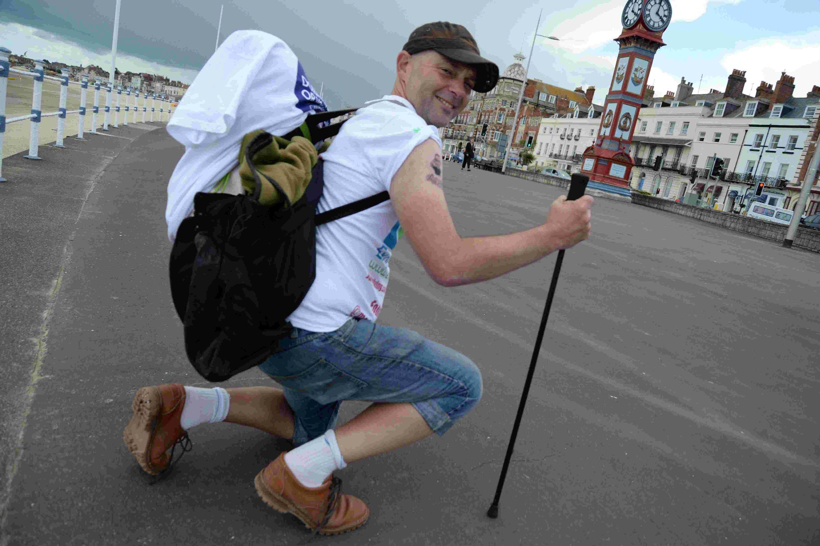 WAY TO WALK: Lee Madden stops off in Weymouth on his mammouth charity walk