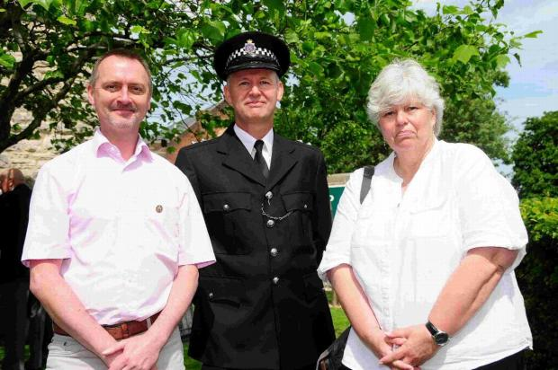 VOLUNTEERS: Crime Prevention Panel vice  chairman David Taylor, Insp Steve Marsh and Crime Prevention Panel vice  chairman Karen Armitage