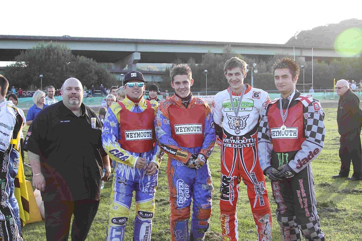 LAST OUTING: Weymouth Wildcats, from left: Tim Allan (team manager), Jay Herne, Brendan Johnson, Richard Andrews and Danny Stoneman