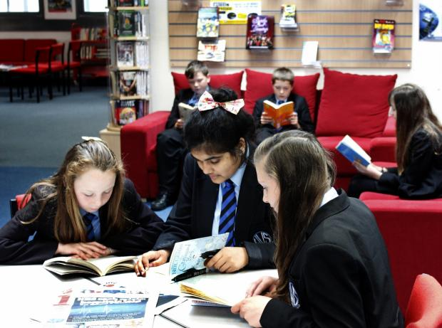 Students at Wey Valley reading the the Learning Resources Centre
