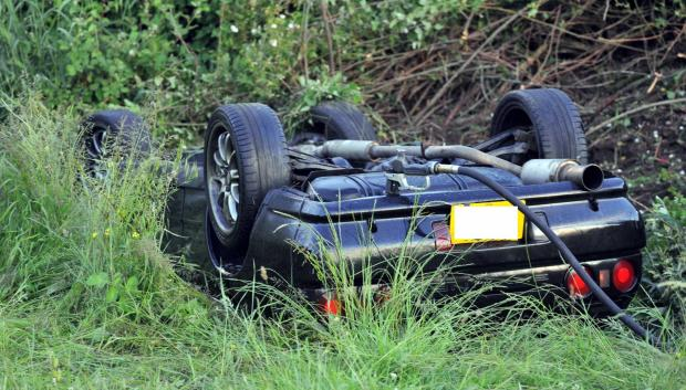 The car which flipped on the A354 Weymouth Way. Photo; Dorset Media Service