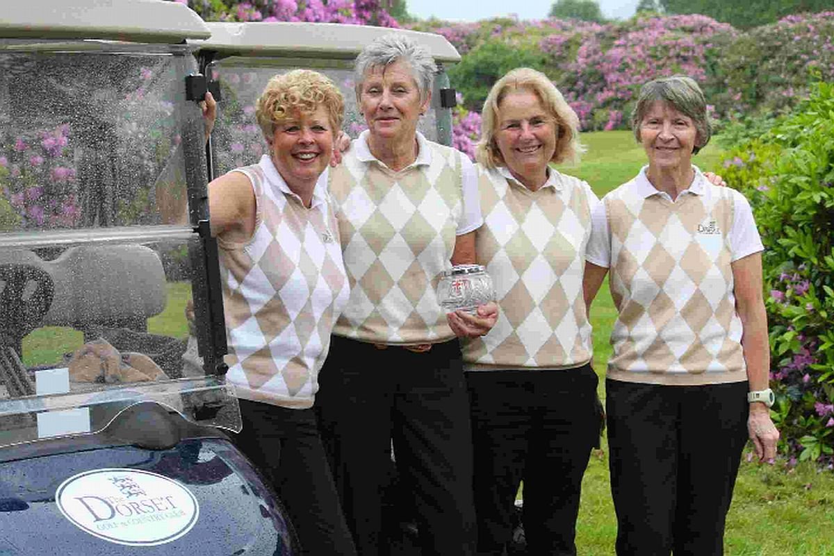 TRIUMPHANT: The winners of the Legg Bowl, from left: Pauline Henson, lady captain Julie Jenkins, Sarah Durell and Eileen Roper