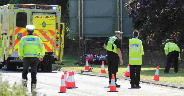 SERIOUS CRASH: Police attend the scene of the accident on the A31