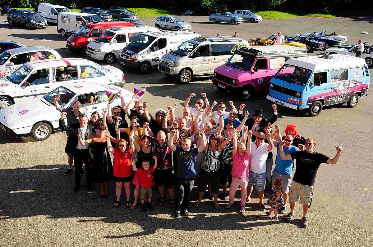 WAVING GOODBYE: The Windy 500 racers in the car park at the Bob Lucas Stadium