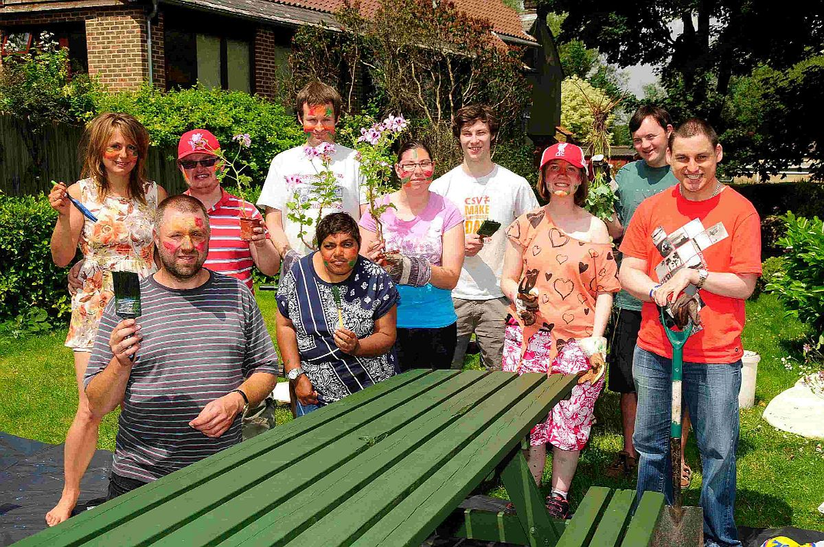 PARTY: Dorchester Friendship Club giving the pub garden at Tom Browns pub a makeover