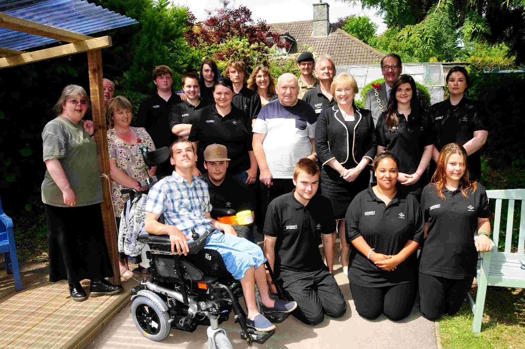 Princes Trust members, Mayor Peter Mann and service users at the gardens