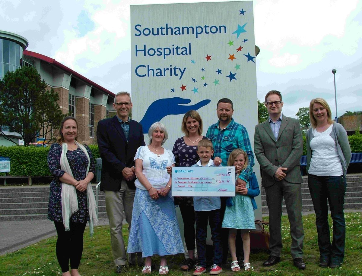 GREAT EFFORT: Friend Beth Hall, consultant neurologist UHS Dr Chris Halfpenny, Gemma's mum Linda Dunford, Gemma Downton, Gemma's son Ollie Downton, husband Robert, daughter Ruby, consultant neurosurgeon, UHS Paul Grundy and friend Kerry Cahill