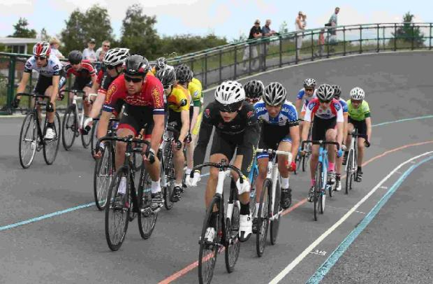 ON TRACK: Alex Jolliffe (black) leads the way