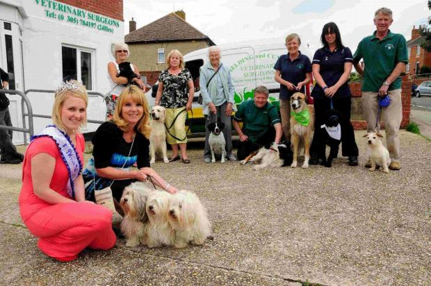 SHOWDOWN: Miss Weymouth Emma Whitbread with Sheila Lane and her Havenese dogs together with dog show organisers and other dog owners