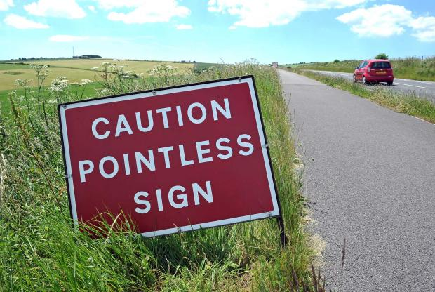 'Pointless' road sign crops up on A354. Photo Dorset Media Service