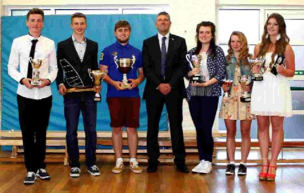 WEY VALLEY WINNERS: From left: Tom Edgeley, Alex Jolliffe, Robert Deadman, Richard Edgeley (assistant principal), Marnie McCombe, Rebecca Raybould and Stacey Hancock