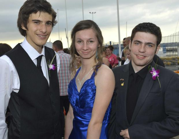 Josh Isbell, Natasha Francis and Ben Gilbert arrive at the prom