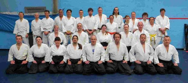 MAKING THE GRADE: Students from Bridport, Bristol and Exeter with Sensei Phil Bolt