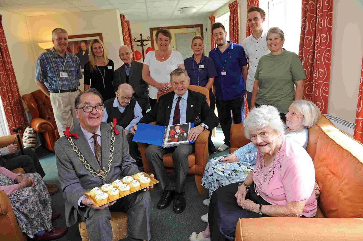 VISIT: Mayor Peter Mann and past Mayor Leslie Phillips  at Maiden Castle House care home