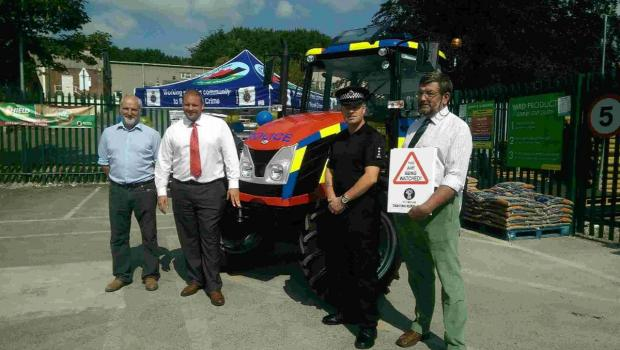 TRACTOR FORCE: Mike Fry of MJ Fry Agricultural Engineering, Daniel Chippendale of Zetor UK, Temporary Chief Inspector Shawn Whitley and Matthew Price of NFU Mutual