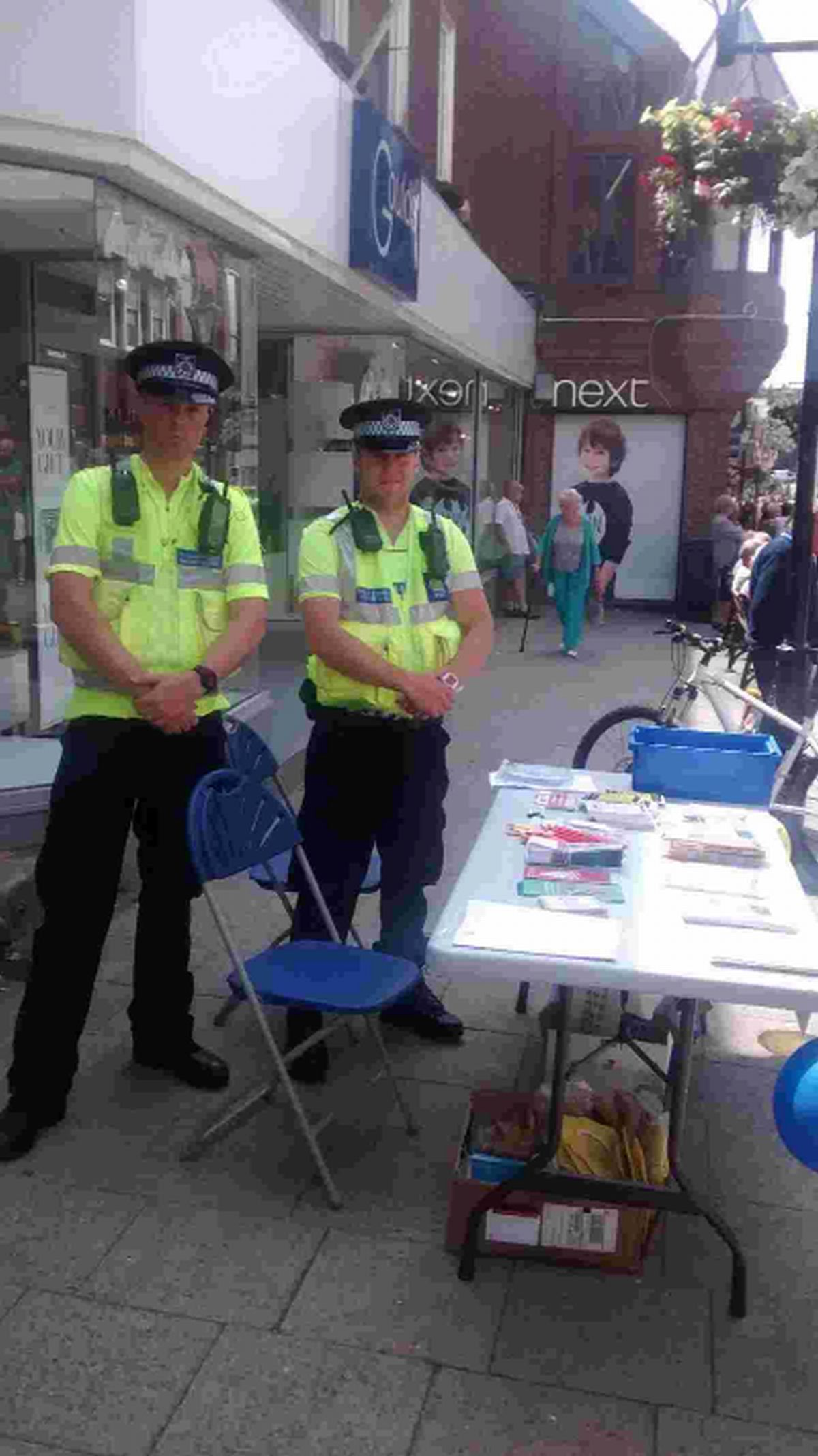 INFORMATION: Dorchester PCSOs Mark Wodarek-Black and Glen Caddy give advice
