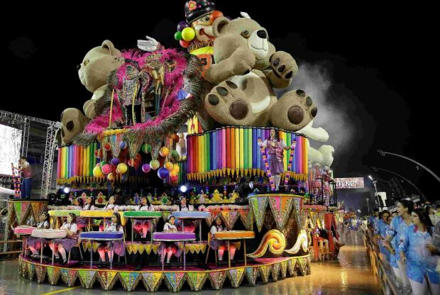 A float during a carnival parade in Sao Paulo