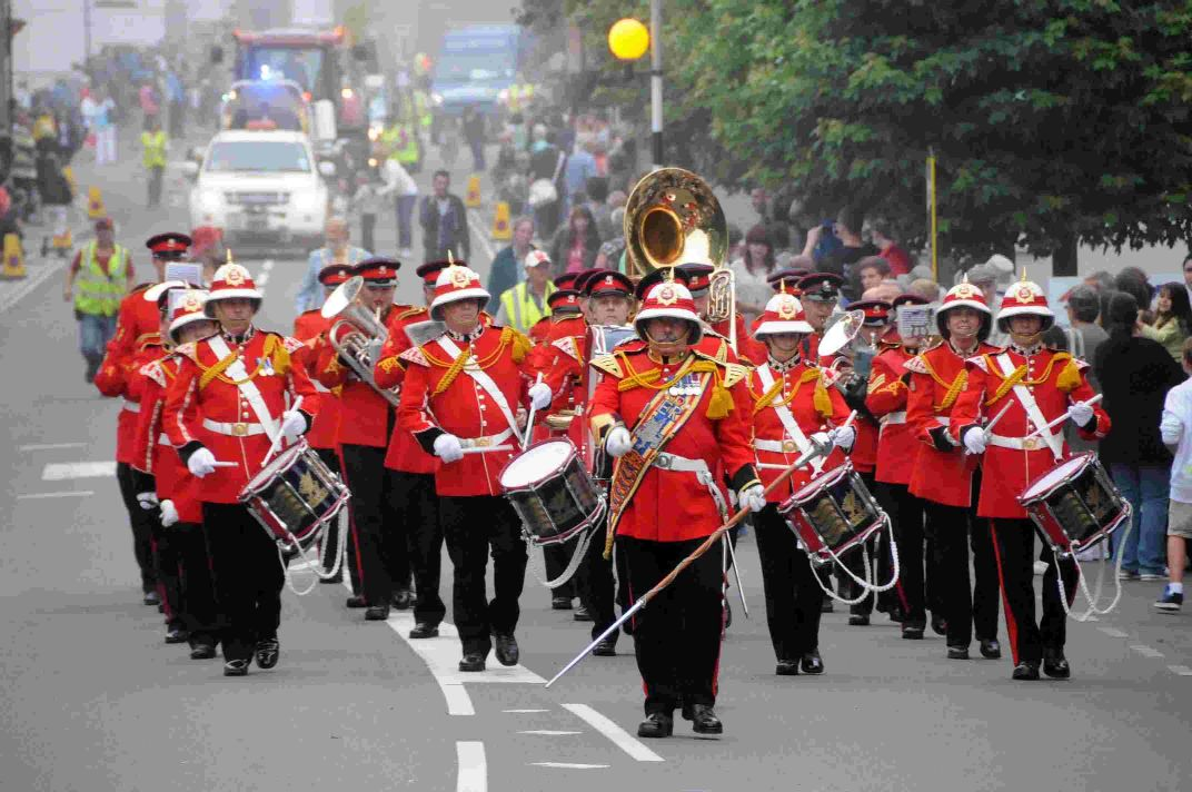 ON PARADE: The WEssex Military Band and, below,  Jenniver Sweet, Sarah Williams, Aiden Cooper, Daniella Scadding and Chloe-Amber Cash