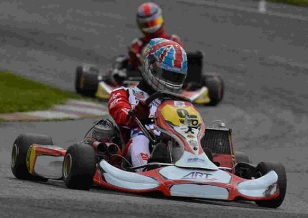 GO FOR IT: Sam Webster flies round the Genk circuit