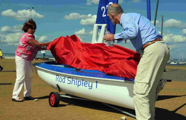Dorset Echo: SAIL AWAY: Elma Shipley, left, who has donated two dinghies in memory of her husband, with  Hugh de Iongh