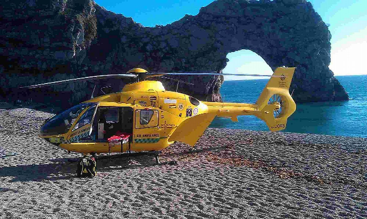 SAFETY FIRST: The Dorset and Somerset Air Ambulance at Lulworth Cove