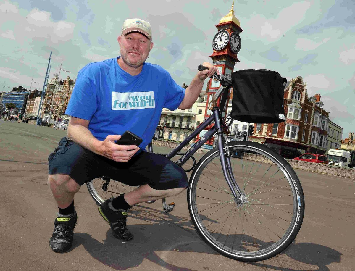 PEDAL POWER: Jason West and his bike on the Esplanade