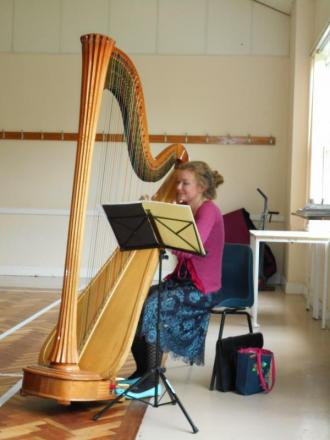Florence Astley provides musical entertainment for cream teas