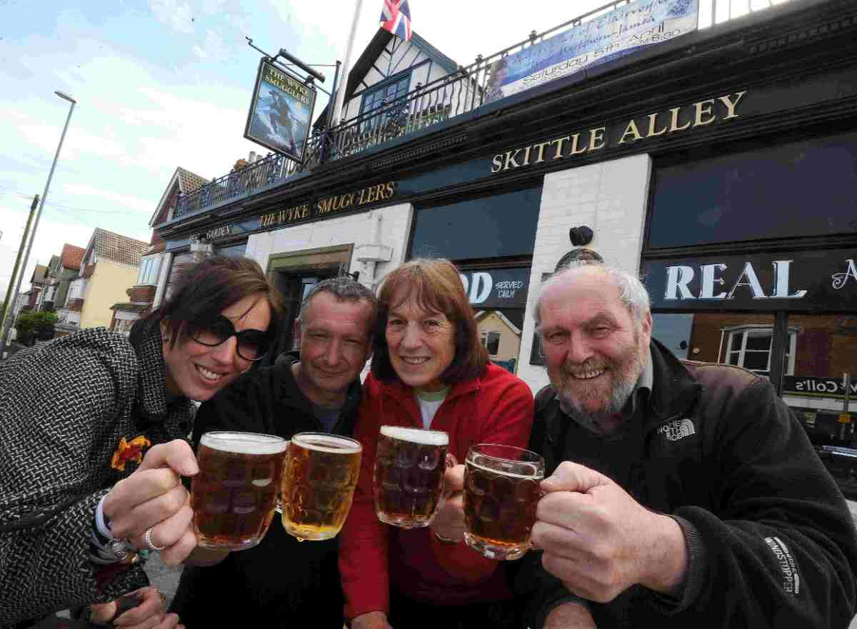 ALE GOOD: Wykefest organisers from left, Sophie Green, Dorset Brewing Company, Rhos Thompson, landlord, of the Wyke Smugglers, Alex Bardswell and Tony Egerton