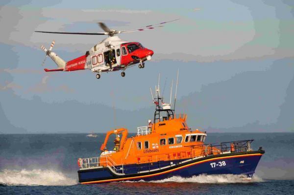 Lifeboat and Coastguard demonstration in Newton's Cove
