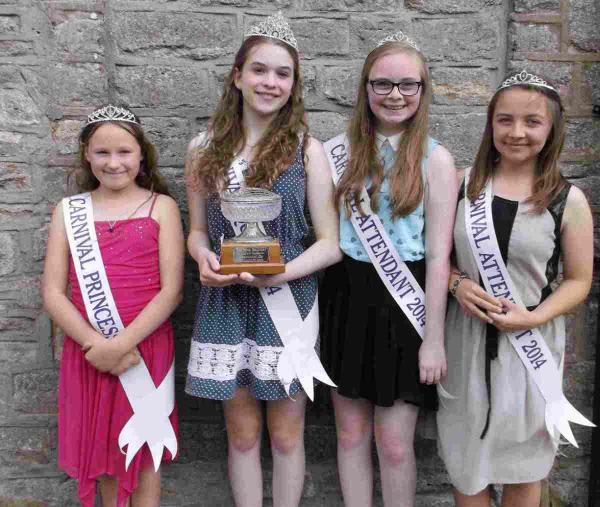WELL DONE: Bridport Carnival Competiton winners Princess Maddie Chant, Queen Sophie Gibson, Sarah Williams and Daniella Scadding